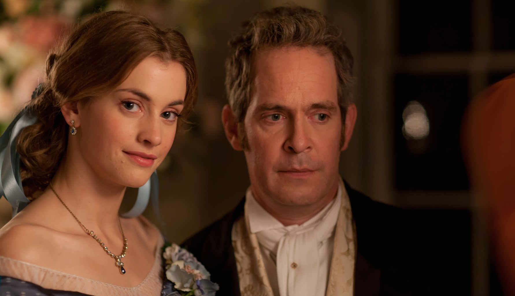 TOM HOLLANDER as Doctor Thorne and STEFANIE MARTINI as Mary Thorne.